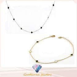 2016 Goodsale Qute Clover Verschönern 925 Silber Schmuck-Set Halskette und Armband (SET3355)