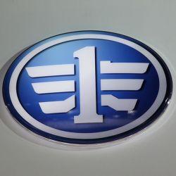 Sinal do logotipo do carro de exposições de automóveis