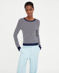 Gerippter Pullover mit Rundhalsausschnitt und Langen Ärmeln mit Schlitzen