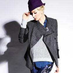 Último projeto Senhoras Moda lã de inverno Casaco de Manga Longa
