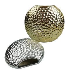 Ronda de cerámica vidriada terracota Electroplate Oro y Plata Jarrón de flores