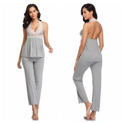 Levering voor doorverkoop plus Katoenen van het Kant van de Grootte Loungewear van de Modieuze Grijze Vrouwen van Halter