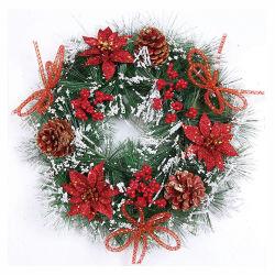 40 cm PVC اكليل عيد الميلاد مع الزهور واليد مصنوعة