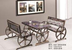 La conception classique de table de restaurant Restaurant chaises antiques 1+2 1+4 Table à café Nouvelle conception de meubles de style industriel Vente chaude 2019