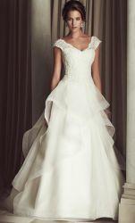 Weinlese-reizvoller Sommer schultert A - Zeile Hochzeits-Kleid