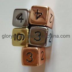Custom 6 caras de los dados de metal para el juego de mesa