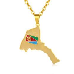 Nouveau mode Bijoux plaqué or carte du pays de l'Érythrée Hiphop Collier pendentif en émail