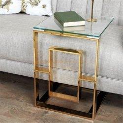 モダンな金属製の正方形の端のテーブルの家の家具のコーヒーテーブル ソファセット家具ダイニングテーブル小さなテーブルガラステーブルゴールド 表 - 簡易表