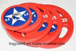 Fuerza comercial equipos de gimnasio el Capitán América PU Placas de peso Olímpico L-211