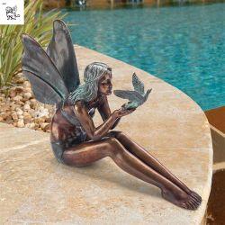 翼の鋳造物の青銅の庭の彫像Bfsy-77が付いている妖精の彫刻