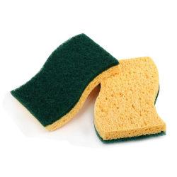Una esponja de celulosa con Estropajos Almohadilla de limpieza de cocina