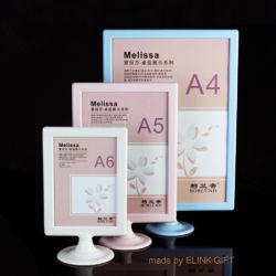 Commerce de gros A4 A5 A6 en plastique blanc titulaire de la carte de menu Affichage du menu Photo Frame Stand Titulaire d'affiches