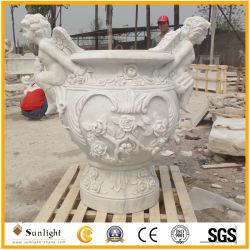 Натуральный камень желтый/бежевый/белого песчаника и гранита и мрамора индивидуальные Garden рукой резные вазы