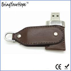 4GB de roterende Aandrijving van de Pen van het Leer USB (xh-usb-008)