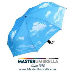 De Overdracht die van de hitte de Blauwe Luxe Vouwende Paraplu van de Hemel voor Gift (tket-1061) afdrukt