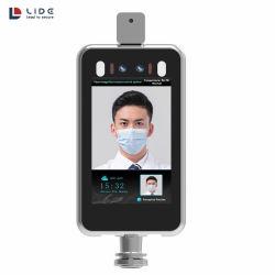 8 pouces de l'outil de mesure du corps Soins du visage sans contact contrôle affiche l'ia porte la reconnaissance de visage de mesure de température du système d'accès