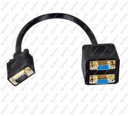 VGA van de premie Mannetje aan * VGA 2 de Vrouwelijke Kabel van de Adapter van de Splitser