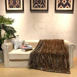 Dual-Sided Leopard Couverture en laine polaire de flanelle PV d'impression