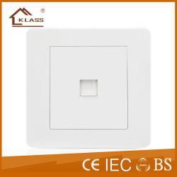 흰색 PC RJ11 벽면 소켓 전화 전기 콘센트