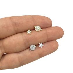 925 Sterling Silver Planet en Star Shape met CZ Gold Plated Stud oorbellen voor vrouwen