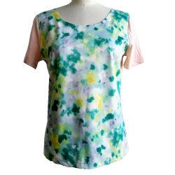 女性は袖のプルオーバーのデジタル抽象的なプリント軽量の夏によって編まれる上をショートさせる