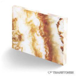 黄色によって結晶させるオニックス大理石のベニヤの石