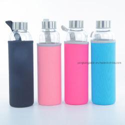 580ml botella de agua potable de vidrio con funda de neopreno