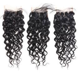 Человеческого волоса кружева закрытие бразильского воды кружевом кривой закрытия естественные цвета