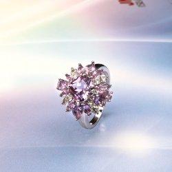 良い宝石類925の純銀製の宝石類の宝石用原石の女性のための紫色の花のリング