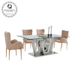 Accueil Mobilier italien Table à manger moderne plateau en verre de table à manger ensemble en acier inoxydable
