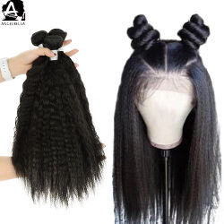 Angelbella Natural Human Hair Black Colour Kinky Straight Weft Full and Thick Bundle Raw Indian Remy Hair