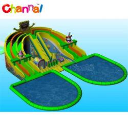 Dos piscinas con tobogán inflable grande parque acuático hinchable gigante
