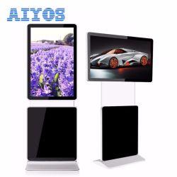 Aufgeteilter Bildschirm drehbarer LCD den Kiosk-Fußboden bekanntmachend, der Digitalsignage-Spieler steht