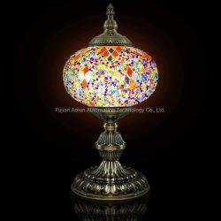 Tabela de mosaicos de vidro turcos artesanais luz com a lanterna de Mosaico (Vermelho Amarelo) -Grande