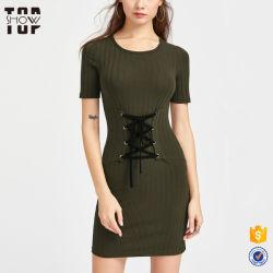 Новейшие модели одежды дамы ребра вязки Lace Up Corset ремень T порванный жгут рубашки и платья