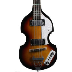 Sunburst corpo oco Violino Guitarra Bass com Branco Pearl Pickguard