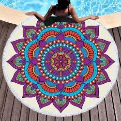 Serviette de plage ronde épaisse couverture avec des glands, Mandala tapisserie absorbant doux à séchage rapide, capot table de pique-nique, cercle de la plage de jeter une couverture, de tapis, nappe