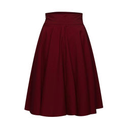 Senhoras cor sólida uma linha Moda saias de pregas Casual