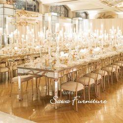 Chapa de Aço Inoxidável da estrutura de ouro de casamento de luxo Jantar a tabela do Espelho