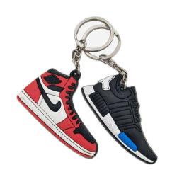 Comerciare la 2D scarpa da tennis all'ingrosso Keychain dei pattini di pallacanestro del PVC Giordano della gomma 3D