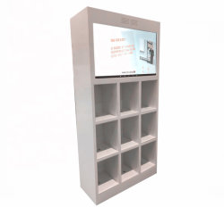 Highlight Lacquer Wood 9 Grids Store Furniture Make-Up Cosmetic Cabinet Met Led Lcd-Scherm