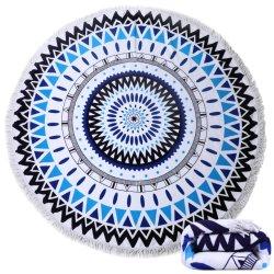 Serviette de plage ronde épaisse couverture avec des glands, ronde Mandala tapisserie absorbant doux à séchage rapide, capot table de pique-nique, cercle de la plage de jeter une couverture, de tapis, nappe