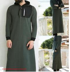 Los hombres musulmanes batas Long-Sleeved Casual nueva camiseta de la parte superior Sweatwear Pullover con capucha sudaderas con capucha sudadera