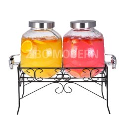 1,5 gallon double distributeur de boissons en verre de boisson définie sur support métallique - avec couvercle et ergot Leak-Free Air-Tight