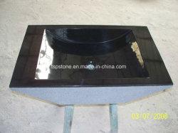 Fregadero negro de la vanidad del cuadrado del granito para el cuarto de baño