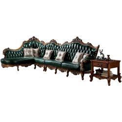 木製の革角のソファーによってセットされる居間の家具