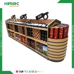Magasin de détail Magasin des alcools de vin Bouteille de vin de métal en bois d'affichage rack statif