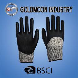 13G de zwarte Handschoen van het Werk van de Veiligheid van het Niveau van de Weerstand van het Schuim van het Nitril Scherpe
