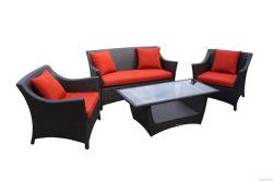 4pcs rojo popular salón sofá mimbre Muebles de jardín de aluminio