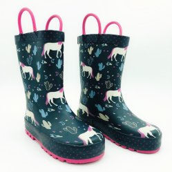 女の子の黒い馬の子供の屋外の雨靴はゴム長を防水する